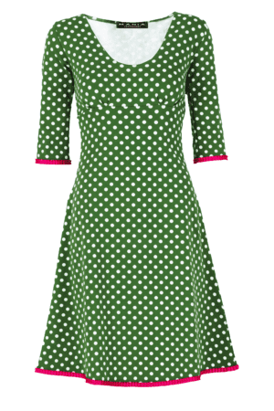 Stella Dress Dot Green/Cherise