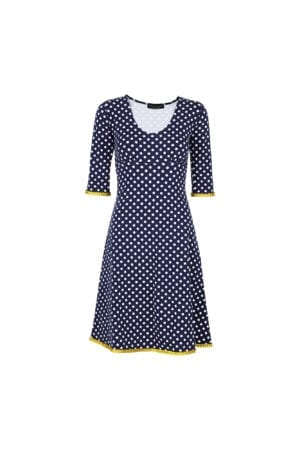 Stella Dress Dot Navy/Mustard