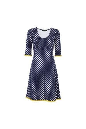 Stella Dress Dot Navy/Mustard