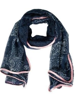 Tørklæde Stencil Blue/rosa