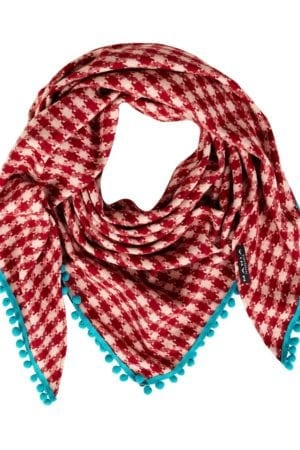 Tørklæde Red wool Pom