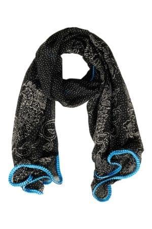 Tørklæde Stencil Black/blue