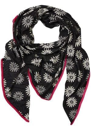Oversize scarf Daisy Black/cherise