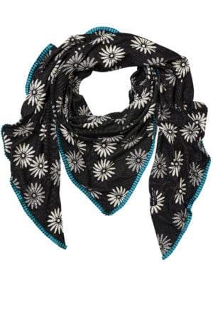 Oversize scarf Daisy Black/petrol