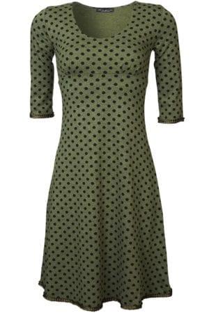 Stella Dress Green Melange black dot