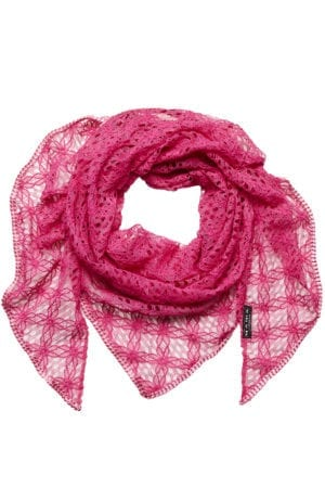 MANIA Oversize scarf lace pink rosa