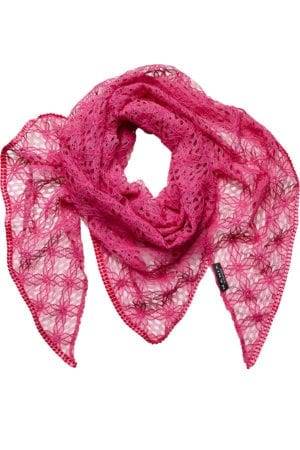 MANIA Oversize scarf lace pink/pink