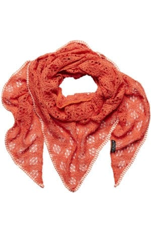 MANIA Oversize scarf lace orange coral