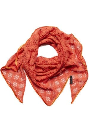MANIA Oversize scarf lace orange/orange