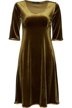 Yvette dress velour, gold