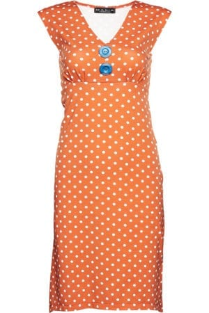 Pin-up Dress Orange dot ,blue buttons