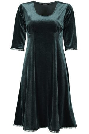 Yvette dress velour petrol