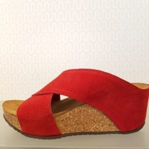 Franches sandal red suede