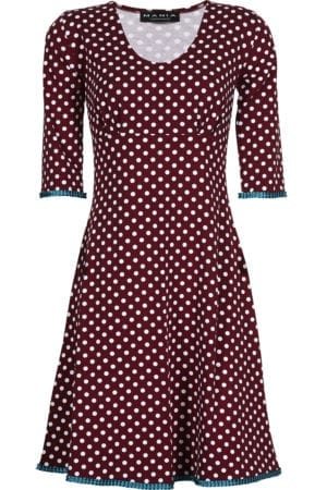 Stella dress dot Burgundy/petrol