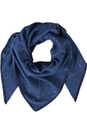 Tørklæde blue wool sequin