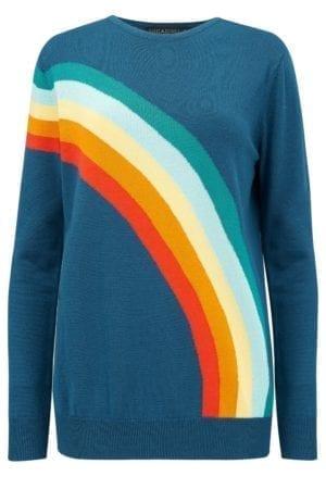 Rita Vintage Rainbow Teal Sweater