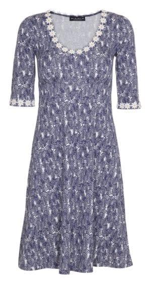 Yvonne Dress Navy Blue Leaf