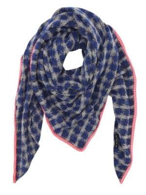 Mohair Tørklæde Blå/pink