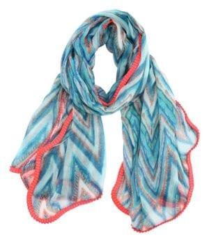 Zigzag Tørklæde Blå/pink