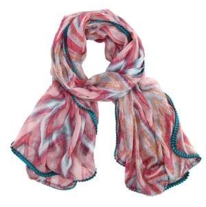 Zigzag Tørklæde rosa/blå