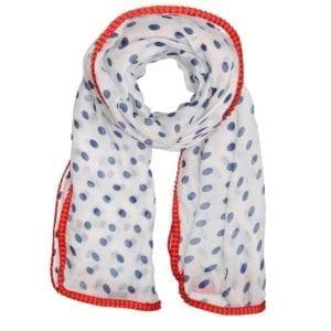 MANIA Tørklæde White/red dot