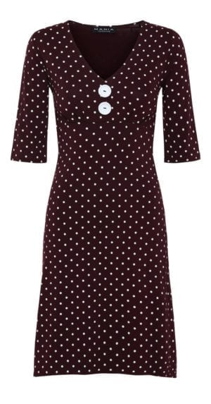 Pin-up dress Burgundy/white White Button